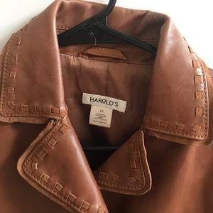 Harold's tan leather jacket size XS.